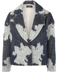 Paul Smith Black Label Navy Textured Floral Wool-blend Blazer Jacket - Blue
