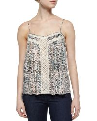 Ella Moss Lace-Inset Printed Camisole green - Lyst