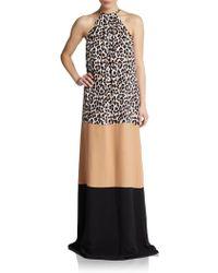 Michael Kors Colorblock Leopard-print Gown - Lyst