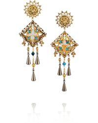 Vickisarge - Basilica Oxidized Goldplated Swarovski Crystal Clip Earrings - Lyst