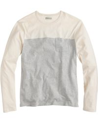 J.Crew Slim Flagstone Long-Sleeve Colorblock Pocket Tee - Lyst