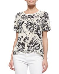 Michael Stars Floral-Print High-Low Blouse - Lyst