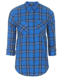 Topshop Long Sleeve Checked Shirt - Lyst