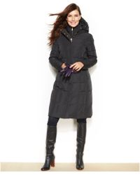 Cole Haan Hooded Long-Length Down Puffer Coat - Lyst