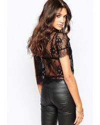 Aka - Short Sleeve Top With Lace Overlay - Lyst