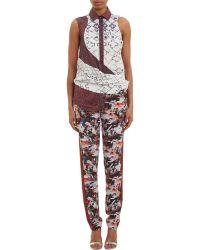 Prabal Gurung Mixed-Print Drape-Panel Shirt - Lyst