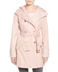 Guess | Hooded Double Breasted Trench Coat | Lyst