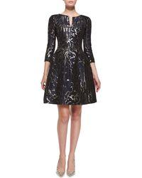 Oscar de la Renta 3/4-Sleeve Marble-Print Cocktail Dress - Lyst