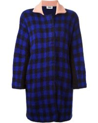 Sonia Rykiel Check Pattern Contrasting Collar Coat - Lyst