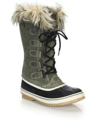 Sorel | Joan Of Arctic Faux Fur-trimmed Suede & Leather Lace-up Boots | Lyst