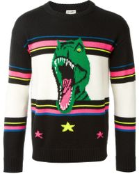 Saint Laurent | Dinosaur Intarsia Sweater | Lyst