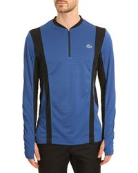 Lacoste Black and Royal Blue Longsleeved Zip Collar Tshirt - Lyst