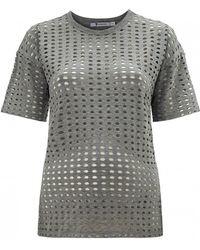 T By Alexander Wang Circular Hole Short Sleeve T-Shirt gray - Lyst
