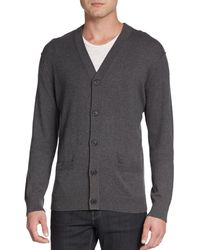 Vince Cotton  Cashmere V-Neck Cardigan - Lyst