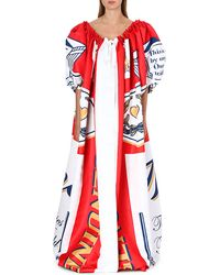Moschino Printed Cape Dress Red - Lyst