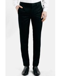 Topman Black Textured Skinny Fit Tuxedo Trousers - Lyst
