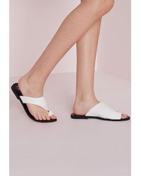 Missguided Asymmetric Toe Flat Sandals White