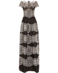 Marchesa Cap Sleeve A-Line Gown - Lyst
