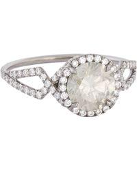 Mp Mineraux - Brilliant-Cut Grey Diamond & Oxidized Platinum Ring - Lyst