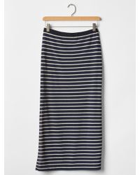 Gap Stripe Slit Maxi Skirt - Blue