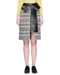 Alexander McQueen | Leather Bow Checkerboard Tweed Skirt | Lyst