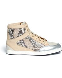 Jimmy Choo 'Tokyo' Holograph Python Print Leather Sneakers - Lyst