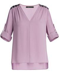 BCBGMAXAZRIA Cassidee V-Neck Embellished Shoulder Blouse - Lyst