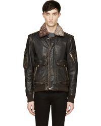 Diesel Brown Leather and Shearling Worn L_tarun Jacket - Lyst