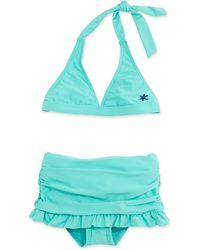 Splendid Ruched Ruffleskirt Twopiece Swimsuit Seafoam - Lyst