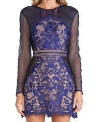 Self-Portrait Spring-lace Long-sleeved Pleated Dress - Blue