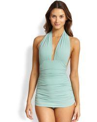 Norma Kamali One-Piece Halter Swimsuit - Lyst