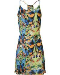 Blue Man Butterfly Belted Dress - Multicolor