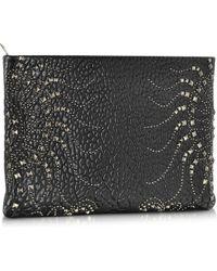 Roberto Cavalli Regina Black Leather Zip Pouch W/Silver Studs - Lyst