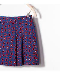 Zara Floral Print Pleated Skirt - Lyst