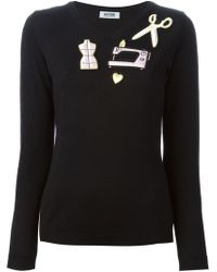 Moschino Cheap & Chic Appliqué Vneck Sweater - Lyst