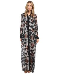 Vera Wang - Watercolor Rose Habotai Shirt Gown With Black Collar & Placket - Lyst