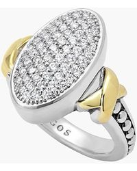 Lagos 'Diamond Lux' Pave Oval Ring silver - Lyst
