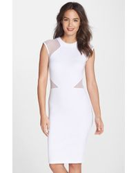 French Connection 'Viven' Mesh Inset Body-Con Dress - Lyst