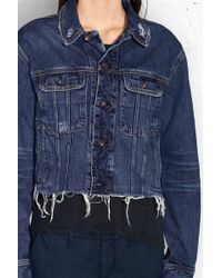 Rag & Bone Crop Boyfriend Jacket blue - Lyst