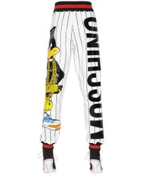 Moschino Daffy Duck Printed Jersey Pants - Red