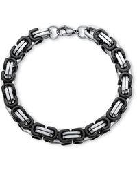 Palmbeach Jewelry - Men's Byzantine-link Bracelet In Black Ion-plated Stainless Steel - Lyst