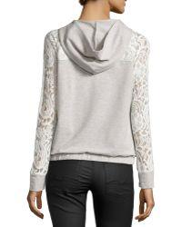 Catherine Malandrino Indigo Lace-Sleeve Hooded Jacket - Gray