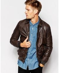 Pepe Jeans Pepe Leather Jacket Indiana Slim Fit Bomber 2 Pocket - Brown