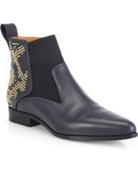 Chloé Studded Leather Pointy Ankle Boots - Lyst