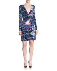 BCBGMAXAZRIA Adele Abstract Print Wrap Dress - Lyst