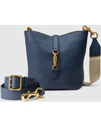 Gucci Jackie Soft Leather Bucket Bag - Blue