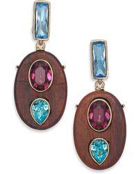 Oscar de la Renta | Crystal & Wood Clip-on Drop Earrings | Lyst
