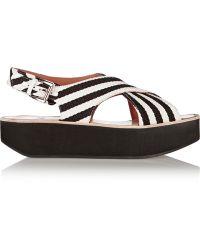 Flamingos - Striped Canvas Platform Sandals - Lyst