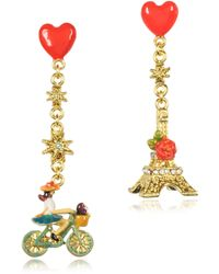 Les Nereides - Paris Mon Amour Heart Drop Earrings - Lyst