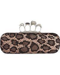 Alexander McQueen Knucklebox Leopard Lace Clutch Bag - Lyst